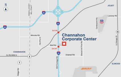 Map Showing Location of Channahon Corporate Center (JPG) Opens in new window